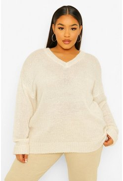 Cream white Plus V Neck Marl Oversized Sweater