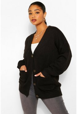 Black Plus Pocket Front Button Front Cardigan