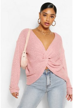 Blush pink Plus Textured Knot Front Oversized Jumper