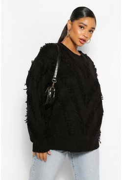 Black Plus Textured Aztec Oversized Jumper