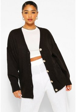 Black Plus Textured Cable Oversized Cardigan