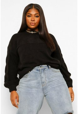 Black Plus Textured Oversized Knitted Jumper