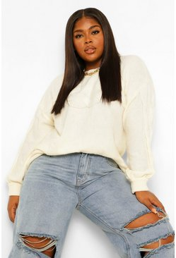 Cream white Plus Textured Oversized Knitted Jumper