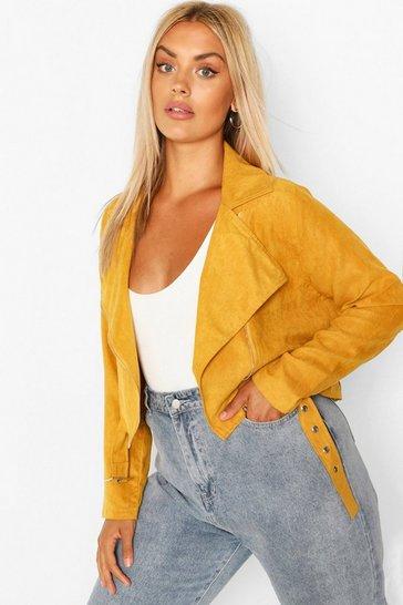 Mustard yellow Plus Belted Suedette Crop Biker Jacket