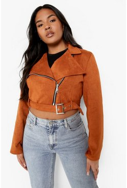 Tan Plus Belted Suedette Crop Biker Jacket