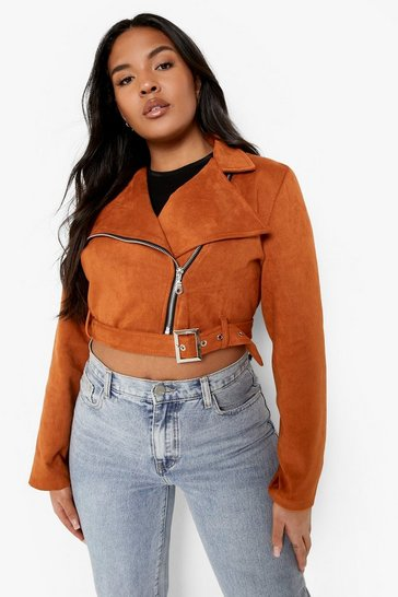 Tan brown Plus Belted Suedette Crop Biker Jacket