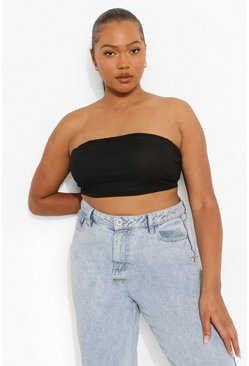 Black Plus Curved Hem Rib Bandeau Tube Top