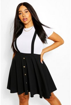 Black Plus Button Front Pinafore Skirt