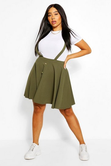 Khaki Plus Button Front Pinafore Skirt