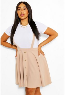 Stone beige Plus Button Front Pinafore Skirt