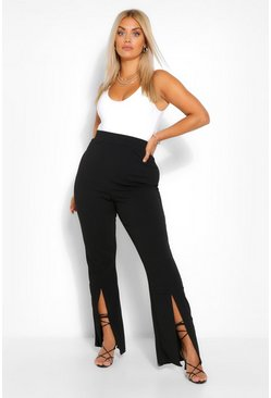 Black Plus Front Split High Waisted Trousers