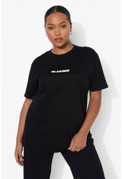 Black Plus Blessed Slogan T-Shirt