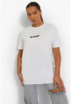 White Plus Blessed Slogan T-Shirt