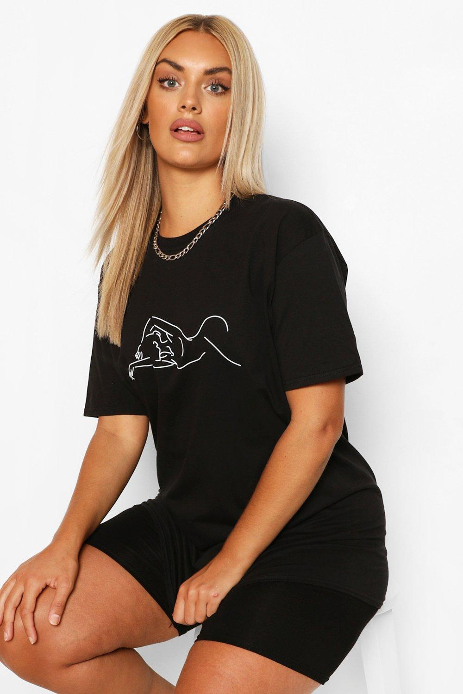 Plus Figure Outline T-Shirt 3
