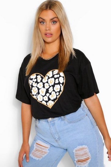 Black Plus Heart Leopard T-Shirt