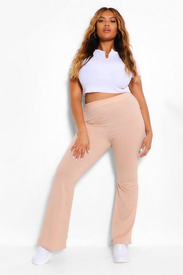 Stone beige Plus Ribbed Flares