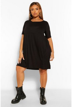 Black Plus Jersey T-Shirt Smock Dress
