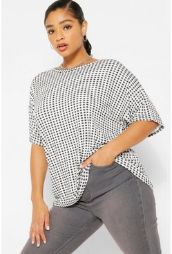 Black Plus Gingham Check Print T-Shirt