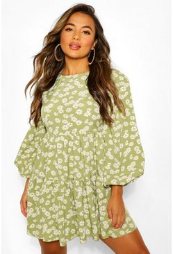 Green Petite Woven Floral Tiered Smock Dress