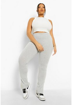 Grey Plus Casual Side Split Leggings