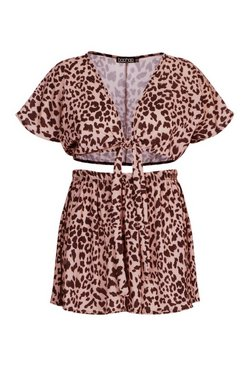 Brown Plus Leopard Beach Co ord