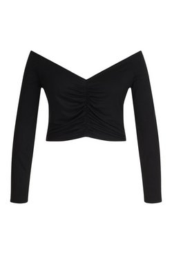 Black Plus Ruched Off Shoulder Longsleeve Crop Top