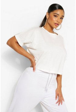 Ivory white Plus Cotton Mix Turn Cuff Crop T-Shirt