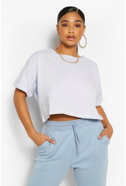 Pale blue blue Plus Cotton Mix Turn Cuff Crop T-Shirt