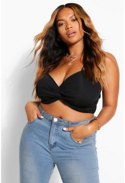 Black Plus Twist Front Crop Top