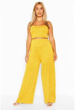 Yellow Plus Floral Strappy Top & Trouser Co Ord