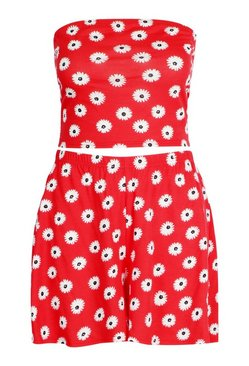 Red Plus Floral Bandeau & Flippy Short Co Ord