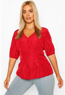 Berry red Plus Puff Sleeve V Neck Pleated Peplum Top