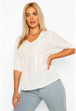 Ivory white Plus Puff Sleeve V Neck Pleated Peplum Top