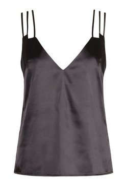 Black Plus Multi Strap Plunge Cami