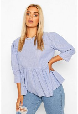 Blue Plus Stripe 3/4 Sleeve Smock Top
