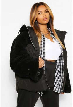 Black Plus Teddy Fabric Mix Puffer Jacket