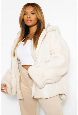 Cream white Plus Teddy Fabric Mix Puffer Jacket