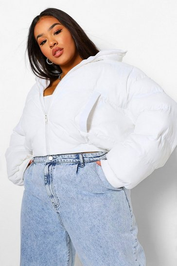 White Plus Funnel Neck Cropped Puffer Jacket
