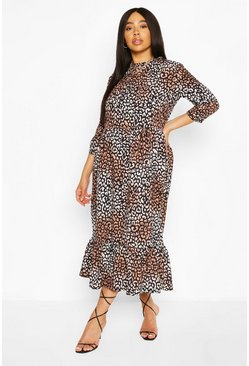 Brown Plus Leopard Ruffle Tiered Midi Dress