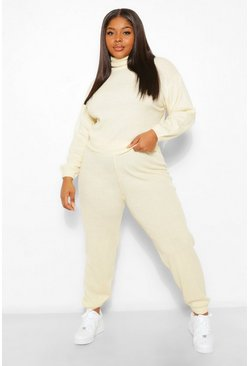 Ecru white Plus Oversized Roll Neck Lounge Set