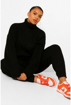 Black Plus Turtle Neck Knitted Jogger Lounge Set