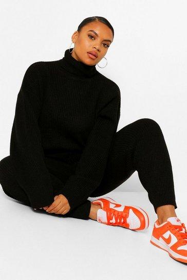 Black Plus Turtle Neck Knit Jogger Loungewear Set
