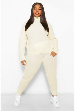 Ecru white Plus Turtle Neck Knitted Jogger Lounge Set