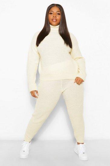 Ecru white White Plus Turtle Neck Knit Jogger Loungewear Set