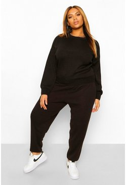 Black Plus Knitted Sweater And Jogger Co-Ord