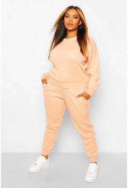 Blush pink Plus Knitted Jumper And Jogger Co-Ord