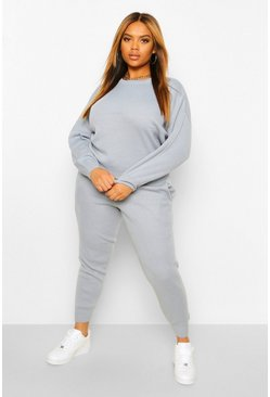 Pastel blue blue Plus Gebreide Trui & Joggingbroek Set