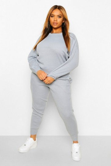 Pastel Blue Plus Knitted Jumper And Jogger Co-Ord