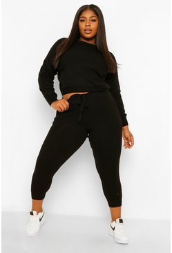 Black Plus Knitted Sweater & Jogger Co-Ord