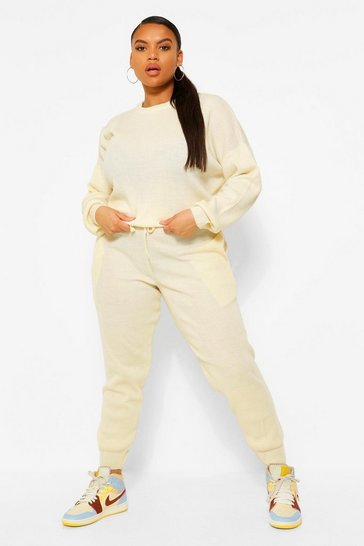 Ecru white White Plus Knitted Jumper & Jogger Co-Ord